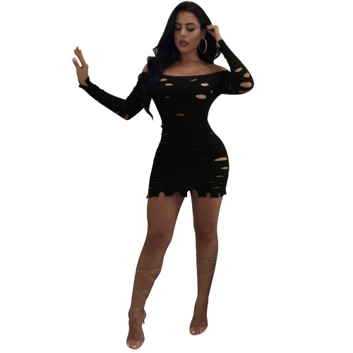 Sexy Women Bodycon Dress Ripped Hole Slash Neck Long Sleeves Solid Slim Mini Dresses