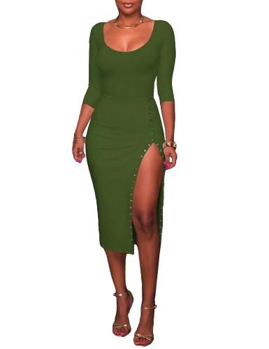 Vestido Midi de mujer sexy lado sólido escote redondo manga tres cuartos botón vestido ajustado delgado borgoña / verde / negro