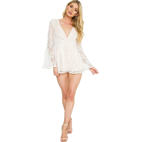 Sexy Women Playsuit Solid Sheer Floral Lace Plunge V Long Flare Sleeve Veja através do Clubwear White