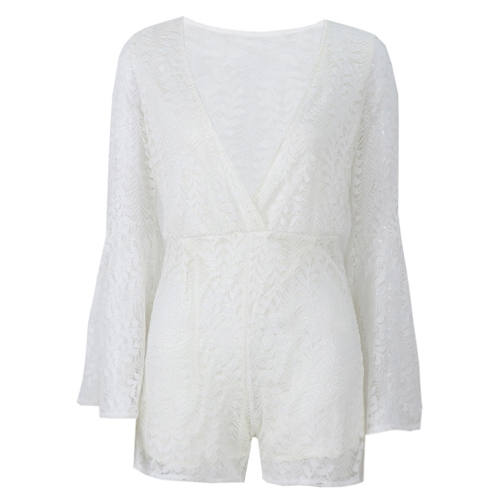 Sexy Women Playsuit Solid Sheer Floral Lace Plunge V Long Flare Sleeve See Through Clubwear White