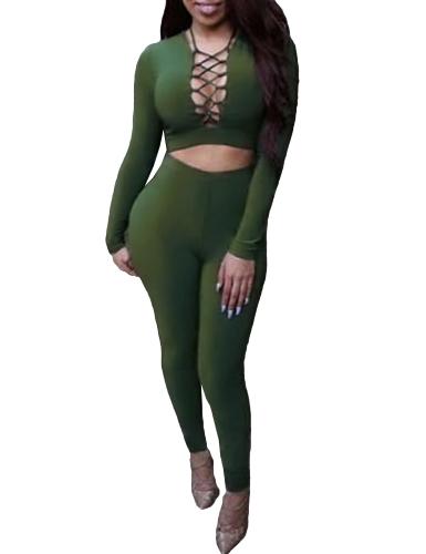 Mujeres atractivas de dos piezas Set Crop Top Plunge V Neck Vendaje de manga larga Pantalones largos Solid Slim Bodycon Trajes Rojo / Negro / Army Green