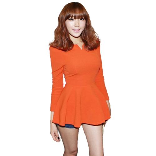 Tops con cuello en V manga larga de Puff Peplum Ruffle dobladillo con cremallera Slim Fit elegante Corea del Sur camiseta