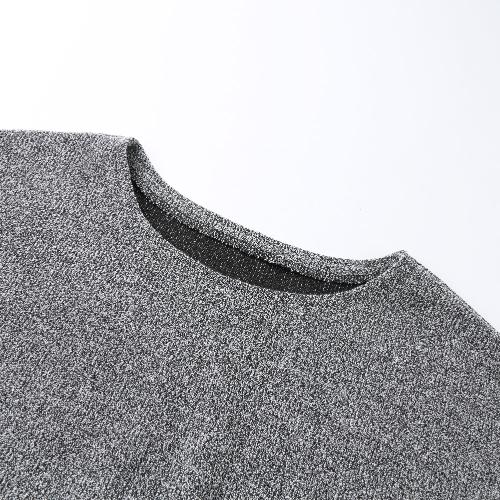 TOMTOP / Autumn Winter Women Knit Dress Cross Belted O-Neck Long Sleeve Knitted Mini Sweater Dress Black