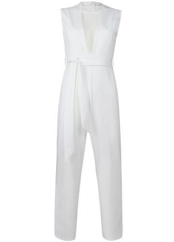 Sexy Women Jumpsuit Plunge Sheer Mesh Sleeveless Waist Tie Zipper Back Длинные брюки Slim Fit Playsuits Rompers