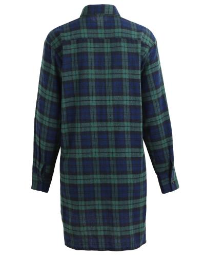 Новые осенние женщины негабаритных плед тартан рубашки кнопки Карманный отложной воротник с длинным рукавом мешковатый проверить блузку футболку фото
