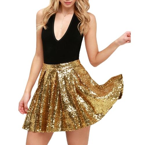 Mujeres de la manera Mini falda de lentejuelas de oro de cintura alta brillante espumoso faldas plisadas Party Club falda corta de oro