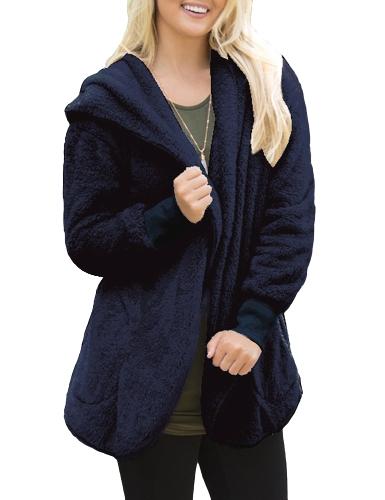 Las mujeres de moda con capucha con capucha Cachemira abierta frente larga manga sólido cálido prendas de vestir exteriores suéter abrigo