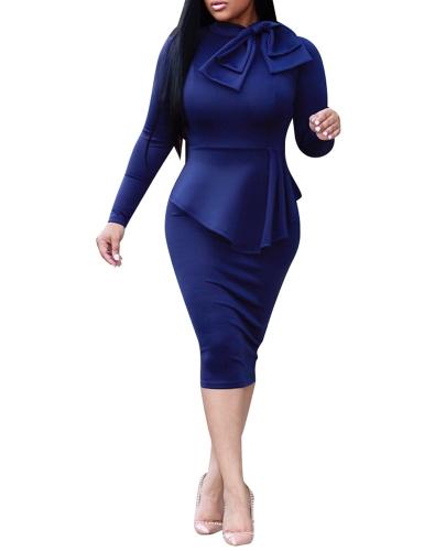 Elegancka damska sukienka midi z wysokim dekoltem, z długim rękawem, bowknot ruffles Solidna, cienka sukienka Bodycon OL czerwona / zielona / granatowa