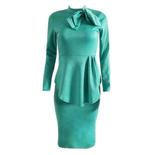 Elegante vestido Midi de las mujeres de cuello alto de manga larga Bowknot volantes sólido Slim Bodycon OL vestido rojo / verde / azul oscuro