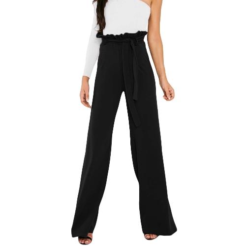 New Women Calças de cintura alta Cinto Ruffle Zip Solid Color Wide Leg Trousers Elegant Long Pant
