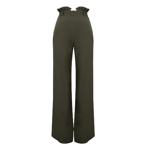Новые женщины Высокие талии Брюки Пояс Ruffle Zip Твердые цвета Широкие брюки ноги Элегантный длинный брюки фото