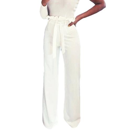 Nuevas mujeres Pantalones de cintura alta Faja con volados Cremallera Pantalones de pierna ancha de color sólido Pantalones largos elegantes