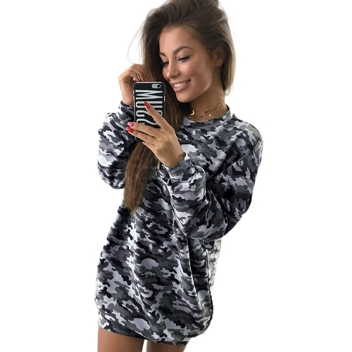 Donna Camo Felpa con cappuccio Sweatershirt Pullover Maniche lunghe Dropped Shoulder Camouflage Long Casual Tops Outwear