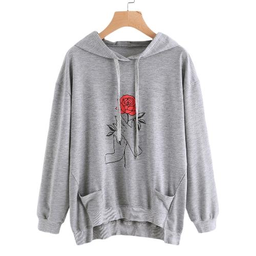 Nowe modne damskie bluzy z kapturem Swetry z kieszeniami Swetry z kapturem oversize Luźne bluzki Szary