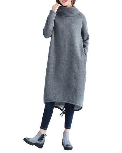 Vestido de cuello alto flojo ocasional de las mujeres de la manera Color sólido de manga larga de lana de cachemira cálido largo superior suéter