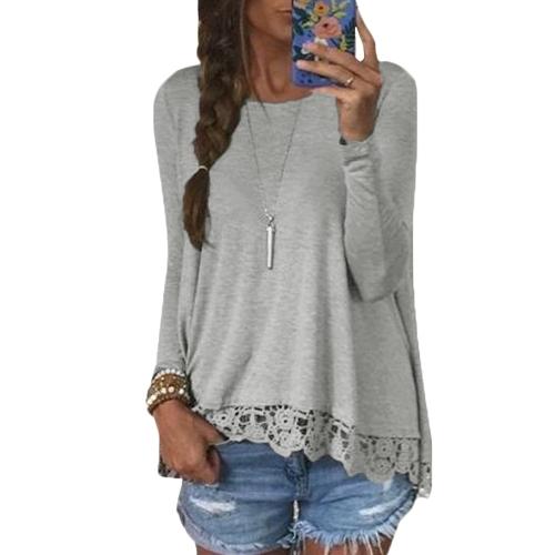 Las nuevas mujeres de la manera camiseta ocasional cuello redondo de manga larga de encaje de ganchillo empalme dobladillo irregular Top Tee
