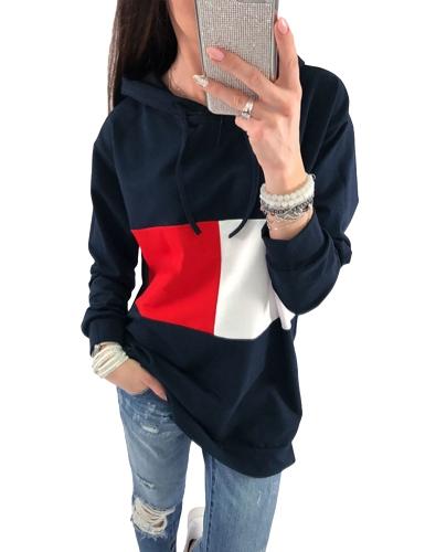 Sudaderas con capucha de las mujeres de la moda del color del contraste del bloque del bloque sudaderas con capucha flojas de la manga larga gris / azul real