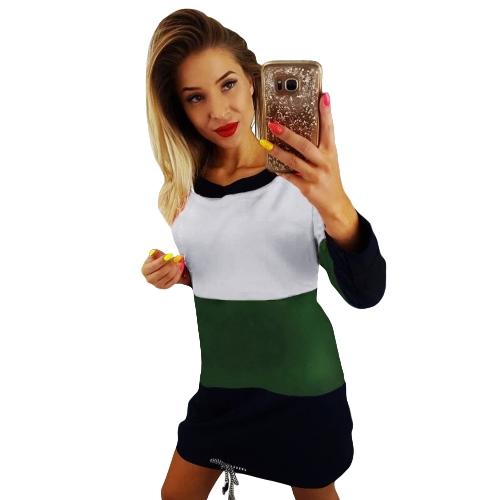 Women Casual Long Sleeve Dress Color Block Tie Back O-Neck Pockets Drawstring Loose Contrast T-Shirt Dress