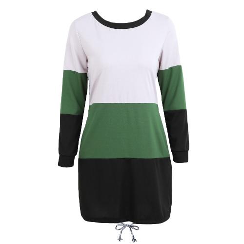 Женщины вскользь платье с длинным рукавом из цветного блока Tie Back O-Neck Pockets Drawstring Loose Contrast T-Shirt Dress фото