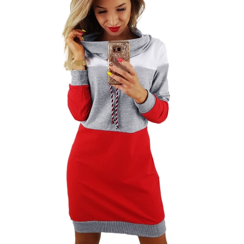New Fashion Women Sweatshirts Self-tie Pullover Long Sleeve Hoodies de tamanho médio Loose Tops Grey / Royal Blue