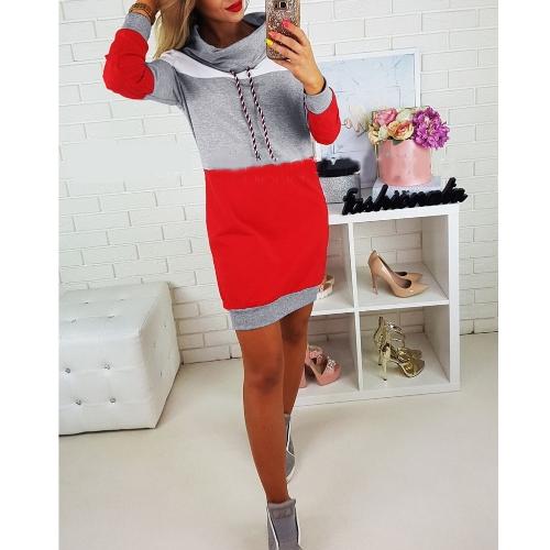 Neue Mode Frauen Sweatshirts Self-tie Pullover Langarm mittel-lange Pullover Lose Tops Grau / Royal Blue