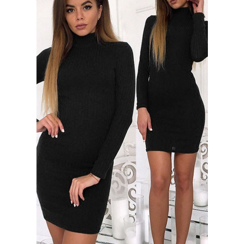 Frauen Stricken Kleid Mini Pullover Kleid Rollkragen Langarm Feste Bodycon Lässige Party Pullover Bleistiftkleid