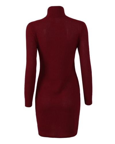 Vestido de punto de las mujeres Mini vestido de suéter de cuello alto manga larga sólido Bodycon partido ocasional vestido del lápiz del partido