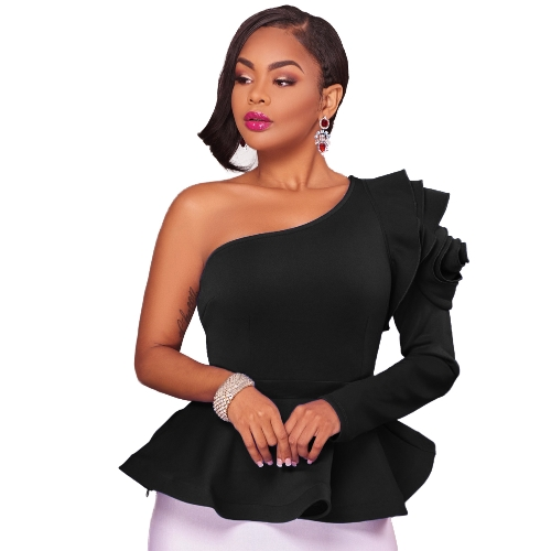Frauen Tops Solide One-Shoulder-Asymmetrische Ausschnitt One Long Sleeve Peplum Hem Rüschen Elegante Party Wear