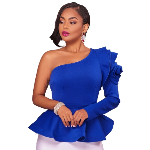 Tops de mujer Solid One Shoulder Asymmetric Neckline One Sleeve de manga larga Peplum Hem Ruffle Elegant Party Wear