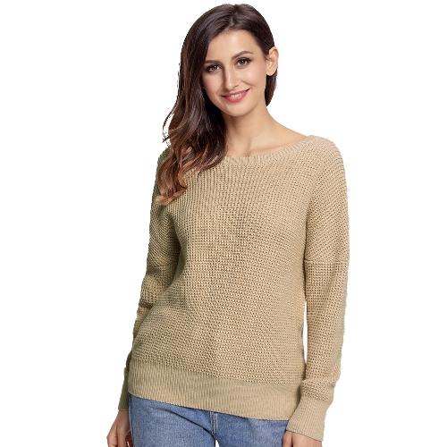 Suéter flojo de punto de las mujeres Vendaje trasero sólido de V Cruz sobre Salto de manga larga Casual Hollow Out