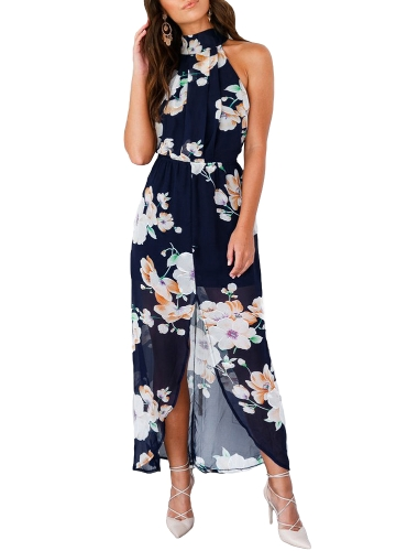 Sexy Women Halter Floral Print Split Backless Maxi Dress Elastic Waist sem mangas Chiffon Beach Dress Dark Blue