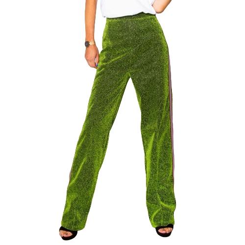 Frauen Metallic Hosen gerades Bein Hose Seitenstreifen elastische Taille Freizeithose rot / grün