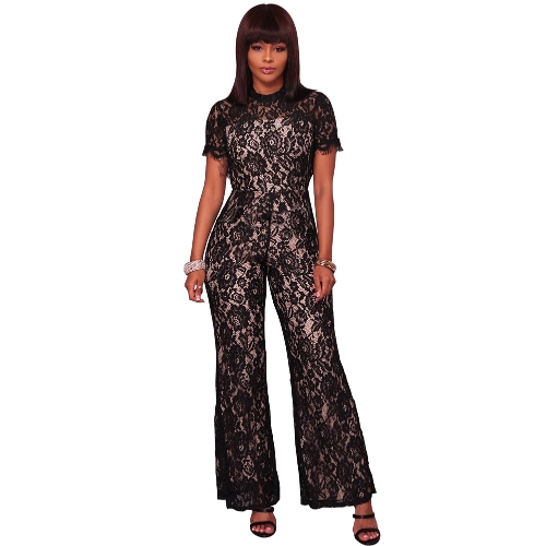 New Sexy Women Lace Jumpsuit O Neck manga curta Open Back Wide Leg Long calças Romper Clubwear Overalls
