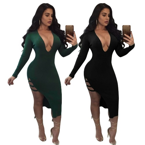 Women High Slit Dress Cut Out Side Deep V Neck Long Sleeves Bodycon Midi Party Dress