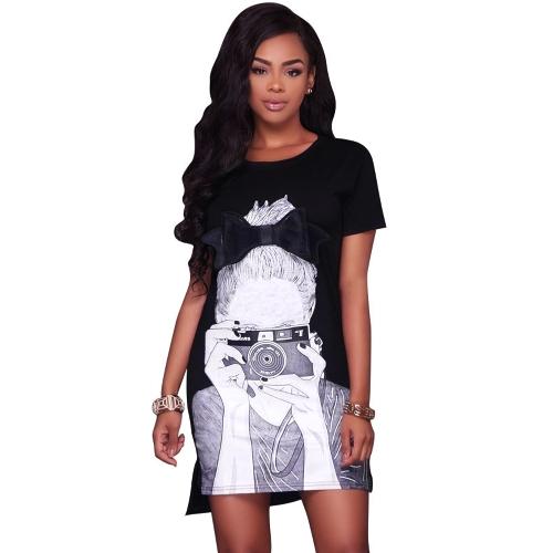 Nova Moda Personagem Imprimir T-Shirt Vestido O Pescoço Manga Curta Assimétrica Hem Verão Mini Tee Vestido Preto / Branco