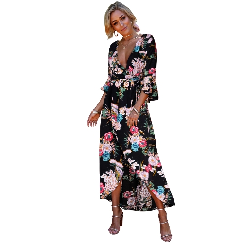 Sexy Women Dress Floral Print Deep V-Neck Flare Sleeves High Split Belt Bohemian Maxi Dresses
