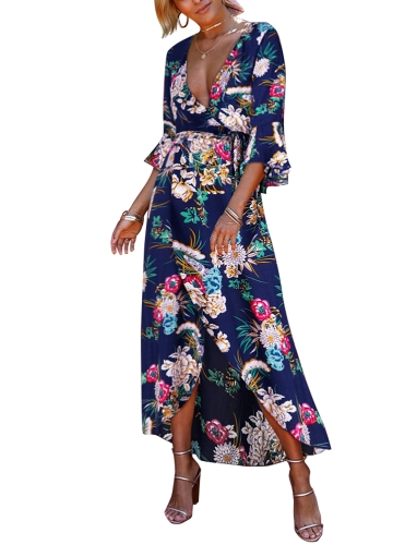TOMTOP / Sexy Women Dress Floral Print Deep V-Neck Flare Sleeves High Split Belt Bohemian Maxi Dresses