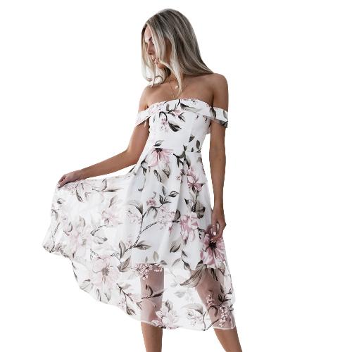 Mulheres elegantes vestem o ombro Floral Imprimir Backless mangas curtas Zip Voltar Midi A linha de vestidos de festa