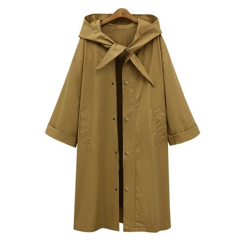 Moda Mulheres Casaco com capuz Trench Long Sleeve Casual Loose Solid Street Outerwear Casaco longo Tamanho grande Verde / Khaki