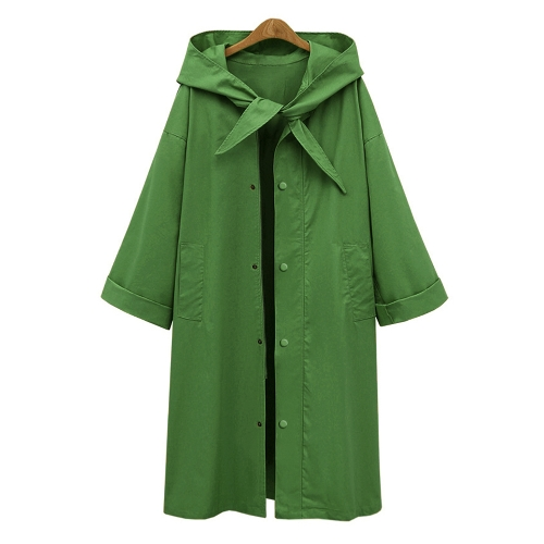 Moda mujer con capucha gabardina de manga larga ropa informal calle Sólida suelta abrigo largo de gran tamaño verde / de color caqui