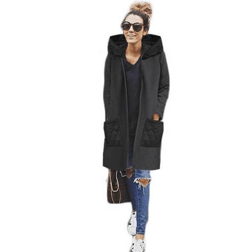 Frauen-beiläufige lange Hoodie-Sweatshirt-Mantel-Taschen Reißverschluss-Oberbekleidung-Kapuzenjacke schwarz / grau / rot