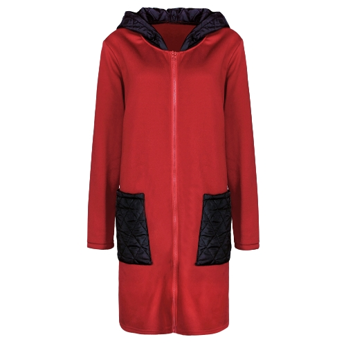 Mujeres sudadera con capucha larga ocasional Sudadera con capucha bolsillos Zip Up prendas de vestir exteriores chaqueta con capucha negro / gris / rojo