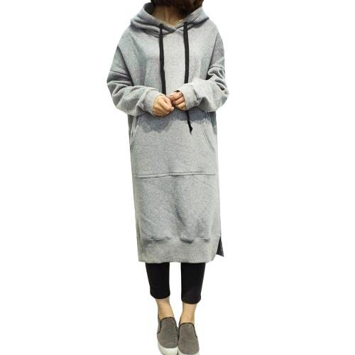 Las nuevas mujeres sueltan el vestido largo con capucha de la sudadera Los bolsillos sólidos largos de la manga parten las sudaderas con capucha calientes casuales
