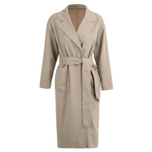 Zimowy płaszcz damski Solidny długi płaszcz kołnierz Płaszczyk pas długie rękawy kieszenie Kobiece ciepłe dorywczo odzież wierzchnia