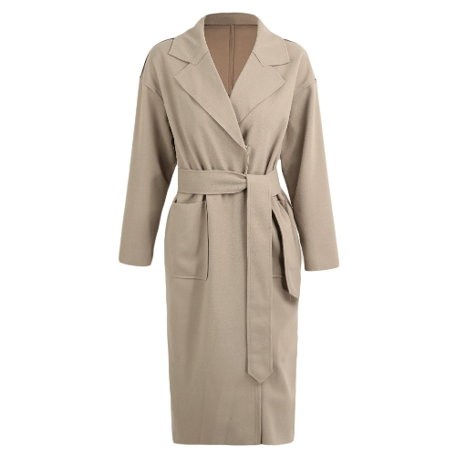 Abrigo de invierno de las mujeres sólido abrigo largo abrigo de cuello cinturón mangas largas bolsillos hembra caliente prendas de vestir exteriores