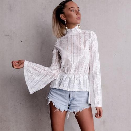 Spring Autumn Women Tops Blusa de encaje Long Flare Sleeve Half-sheer Slim Body Floral Elegant Plus Size Camisa Negro / Blanco
