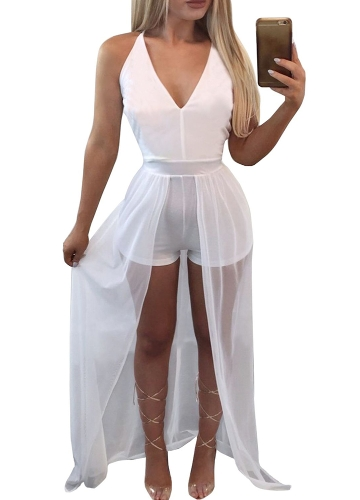 Sexy Women Sheer Mesh Sleevelss V-Neck Tuta Vita alta Bodycon Playsuit Pagliaccetti Maxi Dress Nero / Bianco