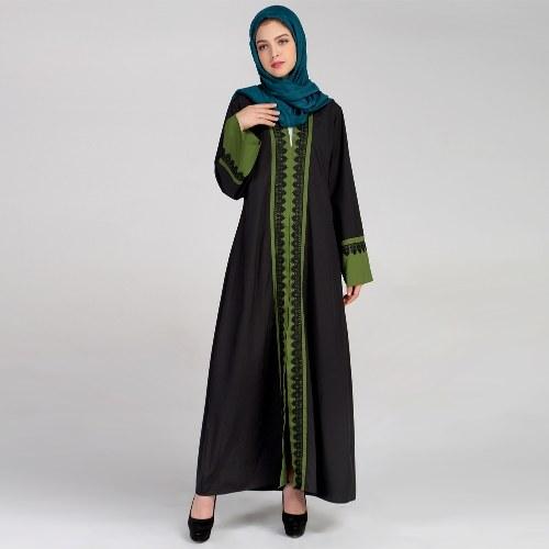 Nouveau Femmes Musulman Maxi Robe Contraste Couleur Dentelle Emplacements À Manches Longues Abaya Kaftan Islamique Indonésie Robe Robe Longue Rose / Vert Foncé