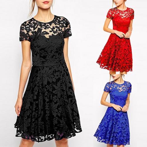 Новые сексуальные женщины цветочные кружева платье круглые шеи с коротким рукавом плиссированные качели платье коктейль синий / черный / красный фото