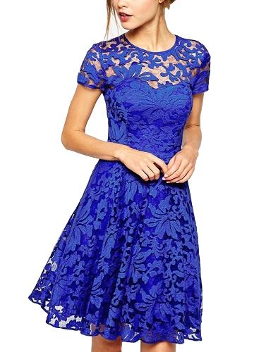 Nuevo vestido de encaje floral de las mujeres atractivas vestido de cóctel de oscilación plisado de manga corta de cuello redondo azul / negro / rojo